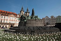 Jan Hus Memorial, Tyn Church, Prague, Czech Republic, Europe