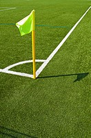 Corner flag in a football stadium