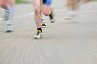 Marathon runner with motion blur