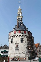 Historic fortified tower Hoofdtoren, harbour of Hoorn, IJsselmeer, North Holland, Holland, Netherlands, Europe