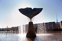 Finland, Region of Finland Proper, Western Finland, Turku, Aura River, Fountain, Whale´s Fin, Sculpture Harmony by Artist Achim Kuhn