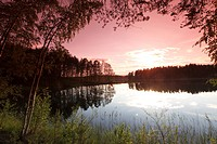 Finland, Region of Southern Savonia, Savonlinna, Punkaharju Ridge, Punkaharju Nature Reserve, Saimaa Lake District, Lake Pihlajavesi at Sunset