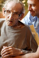 Nursing home, elderly man with a male nurse