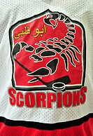 Hockey jersey of the ice hockey team Abu Dhabi Scorpions, Abu Dhabi, United Arab Emirates, Arabia, Middle East, Orient