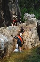 canyoning in Corsica, Canyon de Fiumicelli, France, Corsica, Bavella