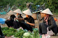 Four Vietnamese women wearing rice hats, women from the Tai Dam ethnic group selling vegetables at a market, Dien Bien Phu, Vietnam, Asia