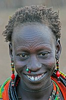 Toposa woman with decoration scars, Sudan