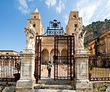 Entrance to the cathedral, Cefalu, Sicily, Italy, Southern Europe