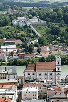 View of the pilgrimage church Mariahilf on the Mariahilfberg mountain and of the former Jesuit church Sankt Michael, Passau, Bavaria, Germany, Europe.