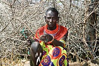 Samburu woman selling necklaces, Kenya, Samburu Np