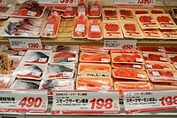 Fresh fish counter in a supermarket, Tokyo, Japan, Asia