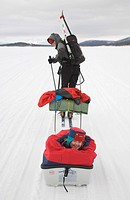 Sleigh ride in Lapland, girl, 4, being pulled in a pulka toboggan by her skiing mother over the frozen Holmajaervi Lake in Kiruna, Lapland, North Swed...