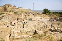 Excavation work at the old Greek settlement of Tyras, Tira, in front of the walls of the Akkerman fortress, in Bilhorod_Dnistrowskyj, Ukraine, Eastern...