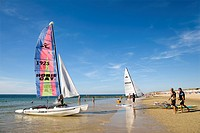 Catamaran on the beach, Westerland, Sylt, North Frisia, Schleswig-Holstein, Germany, Europe