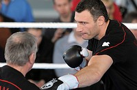 Press conference for the two opponents in the WBC Heavyweight championship bout on 21.3.09, Vitali Klitschko and Juan Carlo Gomez, Mercedes Center, St...