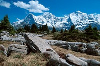 panoramic view on the swiss alps with Eiger, Moench, Jungfrau, Switzerland, Berne