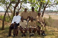 Staff of the Nkwali Lodge near the South Luangwa National Park near Mfue, Eastern Province, Republic of Zambia, Africa