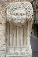 Colum with head, detail, sand_lime brick, architectural style, Verona, Veneto, Italy, Europe
