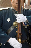 Civil War reenactor at a ceremony at the African-American Civil War Memorial, Washington, DC, USA