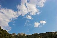 Dentelles de Montmirailwith cloudy sky, France, Provence
