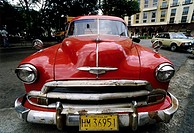 US-vintage car parking at the roadside, Chevrolet Deluxe 2100 JK Fleetline, 1950, Centro Habana, Havana, Cuba, Caribbean