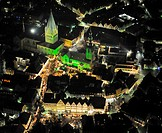 Aerial photo, night shot, Christmas market, town hall, St. Patrokli Dom Cathedral, Morgner-Haus building, site of the Alte Pfalz, imperial palace, St....