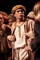 Joseph and the amazing technicolor dreamcoat, actor Stefan Rozyczka playing Zebulon, picture taken at the premier in the Musical Theater, Basel, Switz...