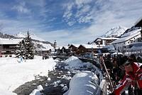Skiers in Lech, Lech River, Vorarlberg, Austria