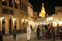 Souq al Waqif in the evening, oldest souq, bazaar in the country, the old part is newly renovated, the newer parts have been reconstructed in a histor...