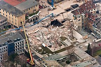 Aerial view, collapse of the Historical Archive of the City of Cologne, Cologne, North Rhine-Westphalia, Germany, Europe