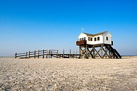 pile_dwelling on the beach, Germany, Schleswig_Holstein, St. Peter_Ording