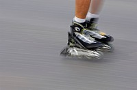 Inline skating, close_up of feet