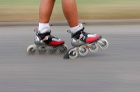 Inline skating, close-up of feet