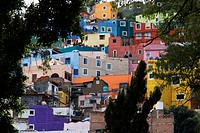 the houses of the historical town of Guanajuato are painted bright colors, Mexico, Guanajuato