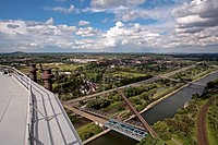 view from the roof of the gasometer, Germany, North Rhine_Westphalia, Ruhr Area, Oberhausen