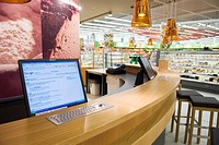 Coffeebar with internet terminals and hotspot in the real, _ Future Store, part of the Metro Group, in Toenisvorst near Krefeld, North Rhine_Westphali...