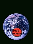 NASA image of the world with an illustrated red panic button in the middle