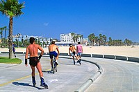Roller Bladers and bicyclists enjoy the bike path, USA, California, Venice Beach