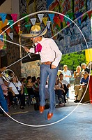 Charreria rope tricks, part of a folkloric performance at the Casa Herradura tequila distillery, town of Tequila, Jalisco, Mexico