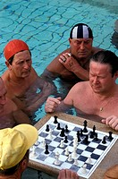 Playing chess, Gellert Baths
