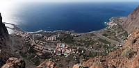 Panoramic view, Vuelatas with harbour and LaPlaya on the right in the back, Valle Gran Rey, La Gomera, Canary Islands, Spain, Europe