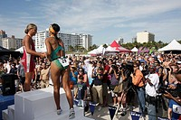 Florida, Miami Beach, Nautica South Beach Triathlon, Atlantic Ocean, sport, fitness, athlete, competitors, win, medal, winner, podium, Hispanic, woman...