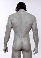 people, human beings, humans Homo sapiens sapiens, muscular man, nude, rear view