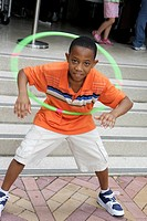 Florida, Miami, Adrienne Arsht Performing Arts Center, centre, Family Fest, Black, boy, student, hula hoop, toy, twirl, play,