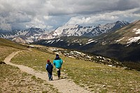 Rocky Mountain National Park, Colorado - John West and his son, Joe, 10, hike on the Ute Trail, on the alpine tundra above tree line  MR