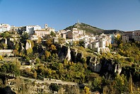 Jucar river gorge and panoramic view, Cerro del Socorro and monument to the Sacred Heart in background, Cuenca. Castilla-La Mancha, Spain
