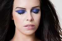 Young woman with purple eyeshadow