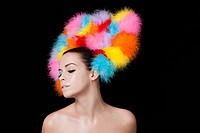 Young woman wearing colourful headdress