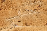 Way up to the Herodes Fortress of Masada, symbol for the freedom of Israel, at the Dead Sea, Israel, Near East, Orient