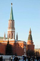 Two towers of the Kremlin, Nikolskaya Tower in front and Corner Arsenal tower in the back, Moscow, Russia